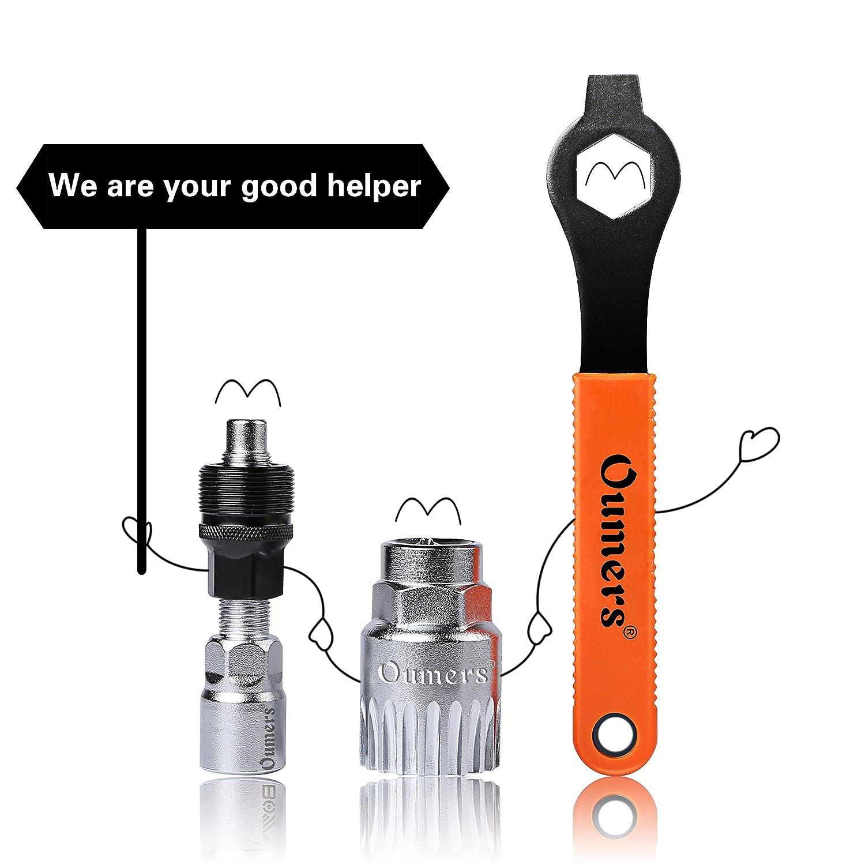 Oumers Extractor de manivela de bicicleta,Desmontador de Brazo y Soporte Inferior con llave inglesa/llave de 16 mm. Kit de herramientas de reparación de ...