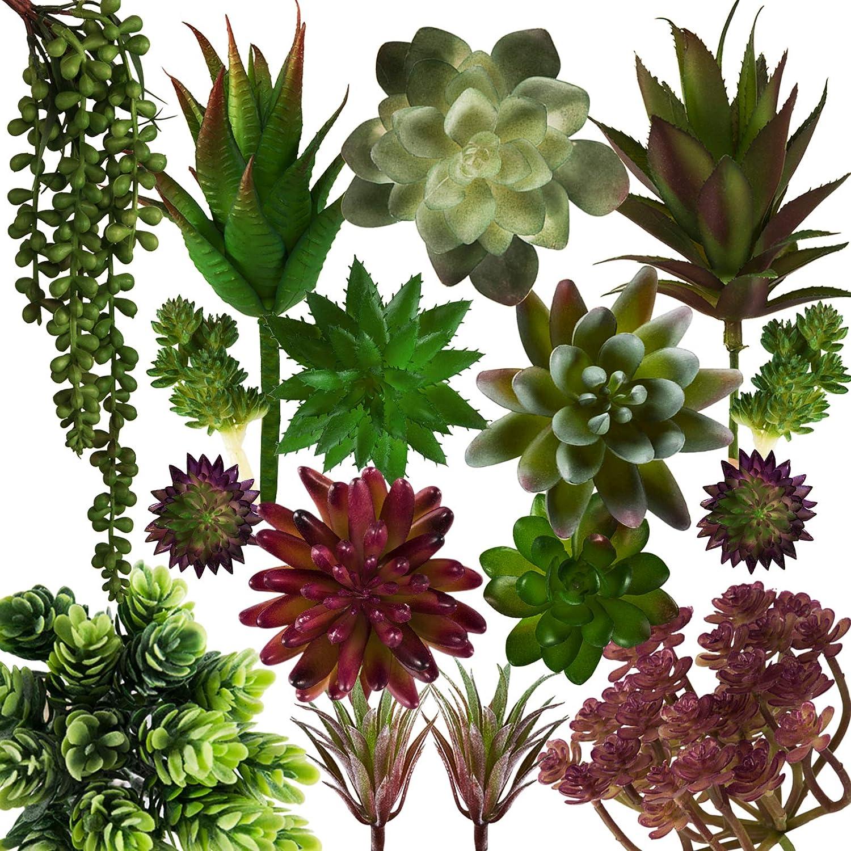18 PCS Artificial Succulents Fake Realistic Faux Succulents Plants Unpotted Bulk Home Decor Arrangement Indoor Outdoor Decorations
