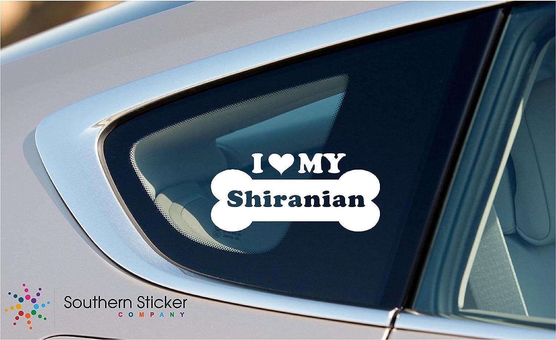 I Love My Shiranian Dog Bone Puppy Symbol White Vinyl Car Sticker Symbol Silhouette Keypad Track Pad Decal Laptop Skin Ipad Macbook Window Truck Motorcycle