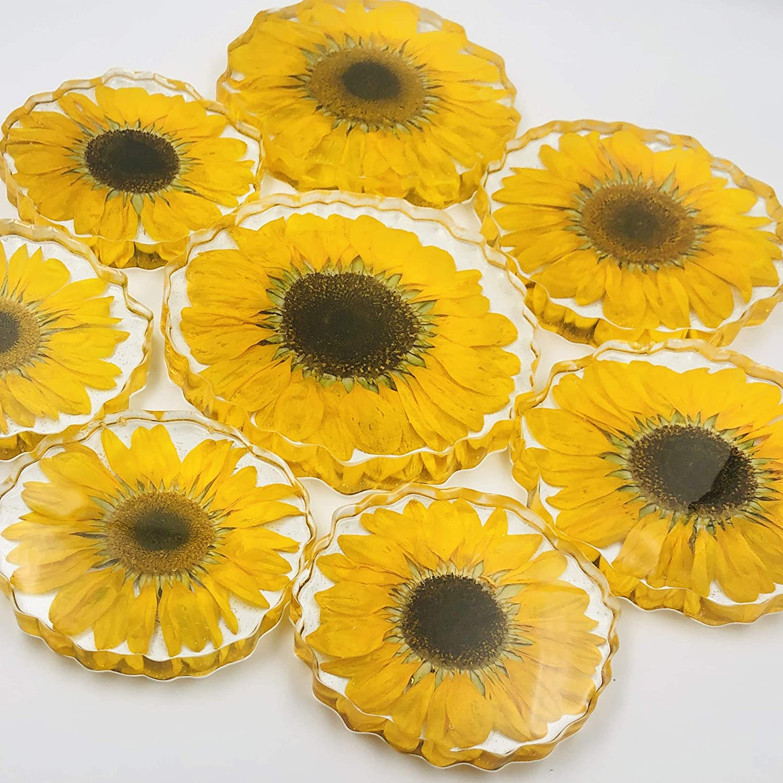 Real Sunflower Coaster Sunflower Decor