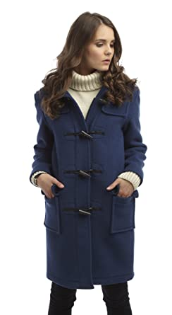 Womens Long Duffle Coat -- Royal Blue: Amazon.co.uk: Clothing