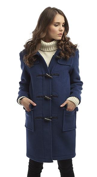 Womens Long Duffle Coat -- Royal Blue: Amazon.co.uk: Clothing