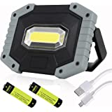 UNIKOO Rechargeable Work Light Flashlight COB 30W 1500LM, Waterproof LED Portable Flood Light for Outdoor Camping Hiking Emergency Car Repairing Fishing Workshop (841G-1PC)