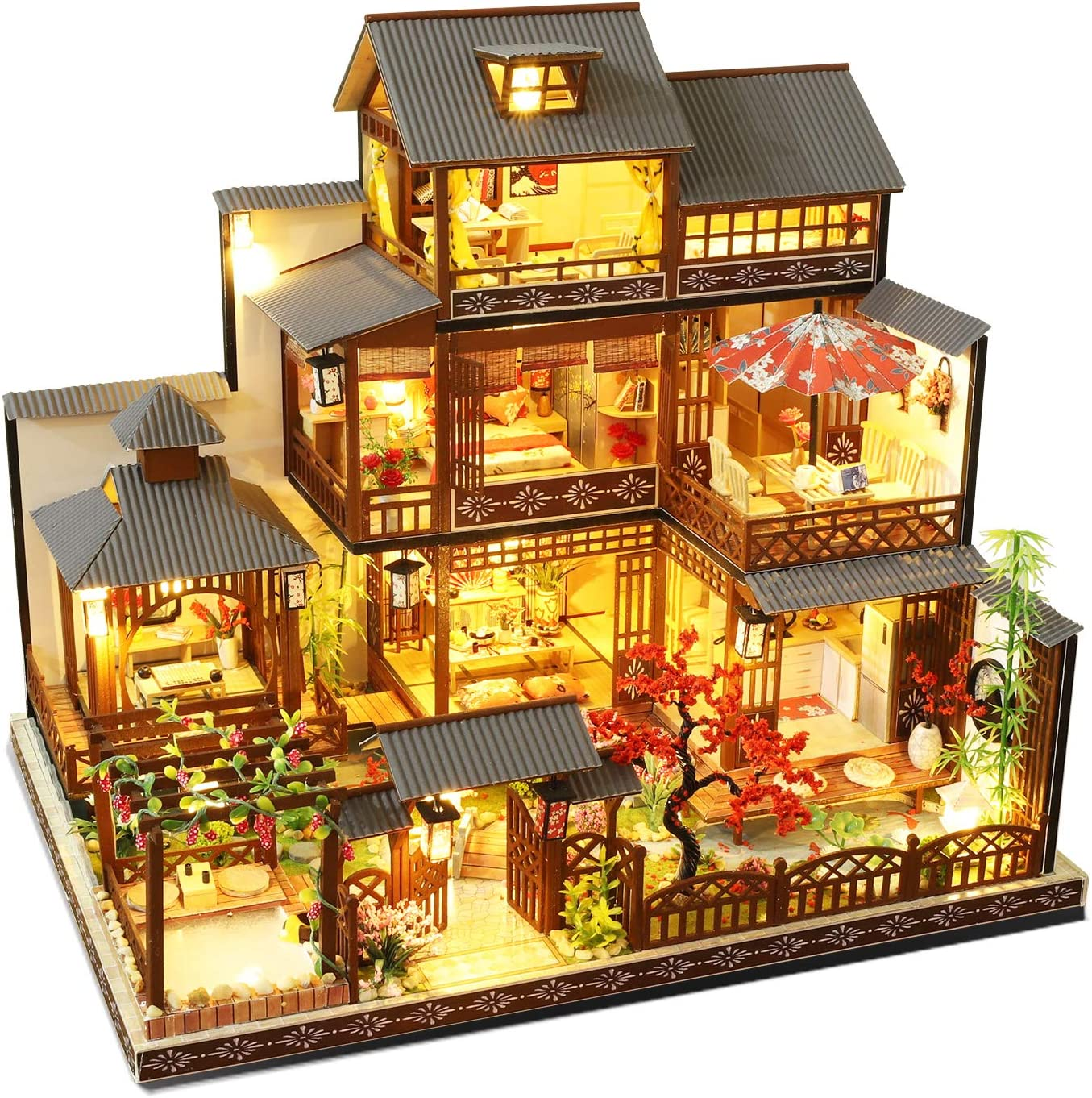 Spilay Dollhouse DIY Miniature Wooden Furniture Kit,Mini Handmade Big Japanese Courtyard Model Plus with LED & Music Box ,1:24 Scale Creative Doll House Toys for Adult Gift