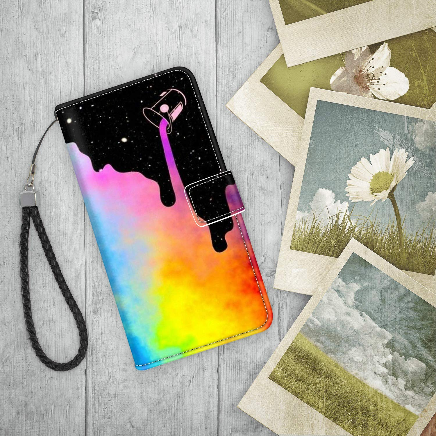 Pingge iPhone 7 8 Wallet Case Lovely Comic Colorful Cats Lightweight Slim Shockproof Cellphone Case Cover with Card Slots Kickstand for iPhone 7 8-1X