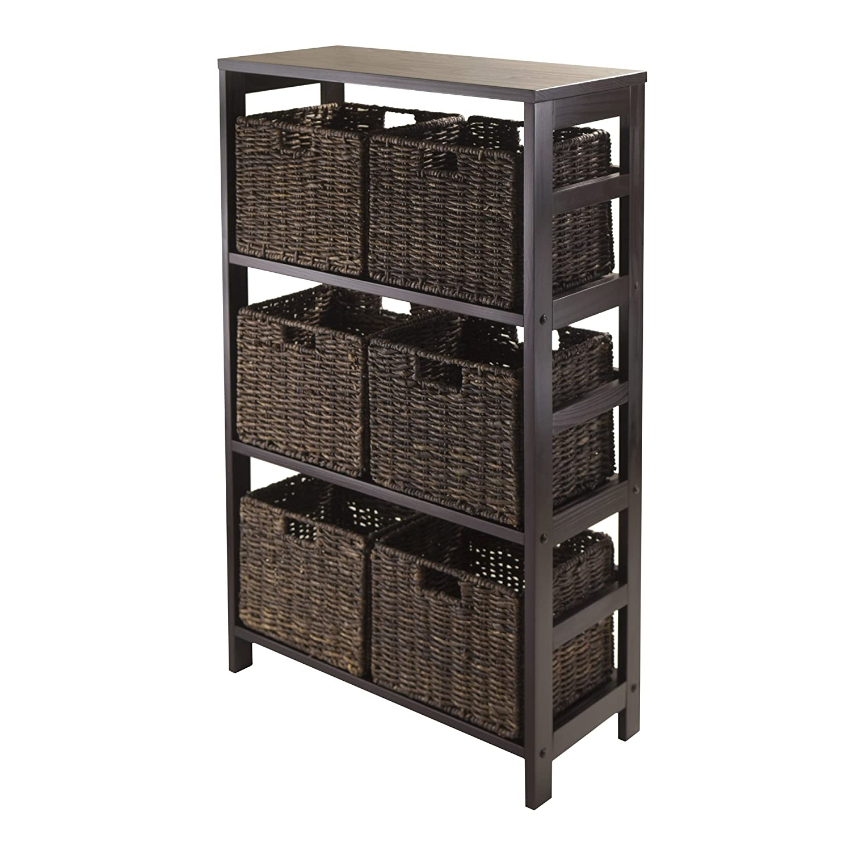 Amazon.com: Winsome Wood Leo Wood 4 Tier Shelf with 5 Rattan ...