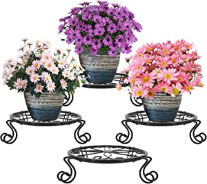3 Pack Metal Plant Stands Indoor Outdoor Plant Holder, Heavy Duty Potted Display Stand, Flower Pot Planter Holder Stand Display Rack Shelf for Garden Living Room Corner Balcony and Bedroom- Black
