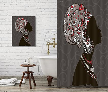 Amazon LB African Black Woman Shower Curtain Set Bathroom