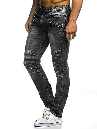 LEIF NELSON Herren Hose Biker Jeans Stretch Jeanshose Destroyed  Freizeithose Denim Slim Fit Basic Skinny LN273D  Amazon.de  Bekleidung 49e4cc8889