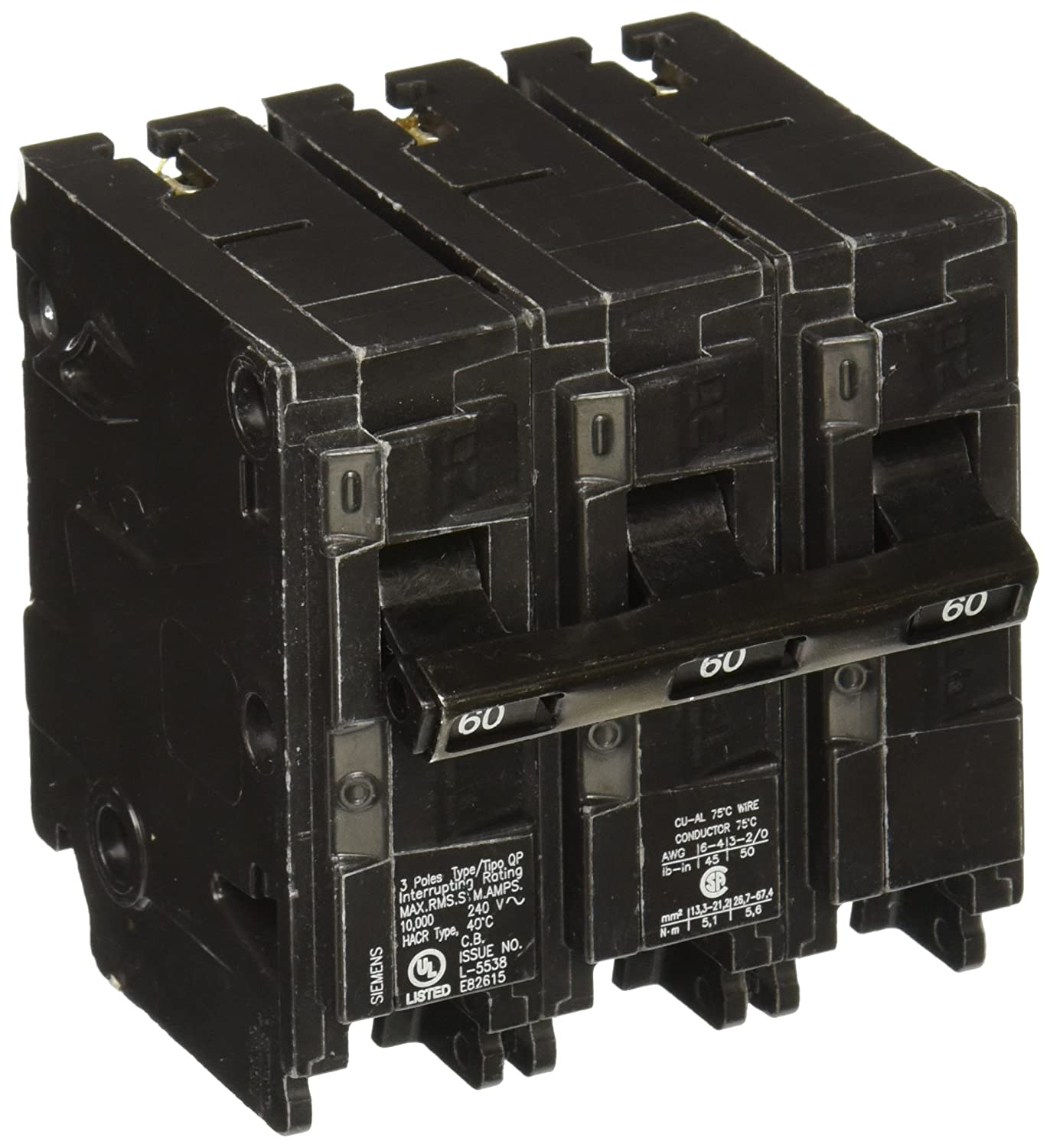 Q360 60 Amp Three Pole Type Qp Circuit Breaker Electrical Distribution Panels Fires