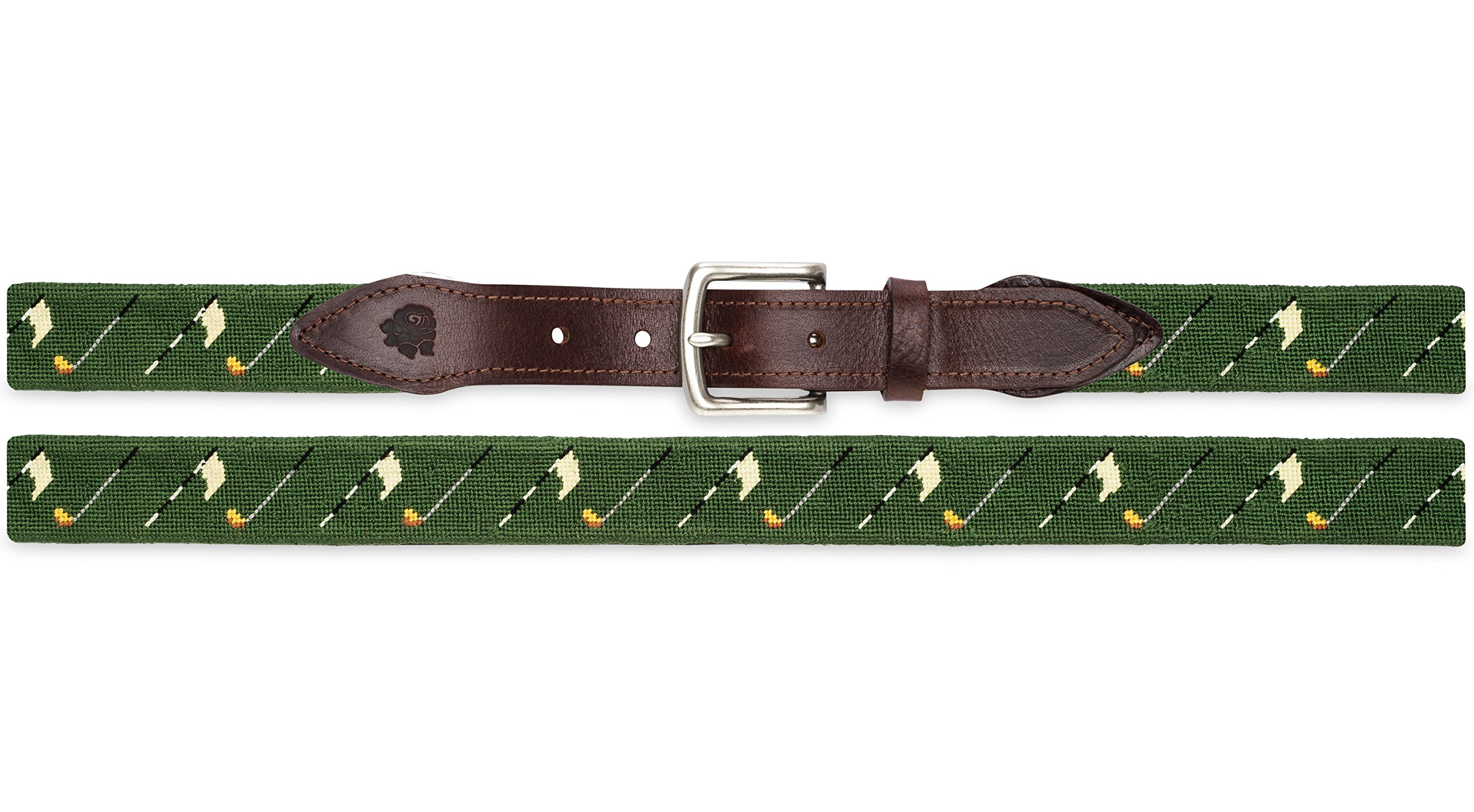 Needlepoint Golf Belt on Green