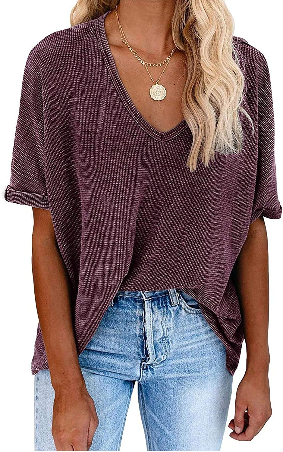 Ribtorsp Womens Turn Up/Sleeves/Cotton/T-Shirt/Relaxed/Fit High/Low/Hem/Casual/Summer/Tops/Basic/Blouse