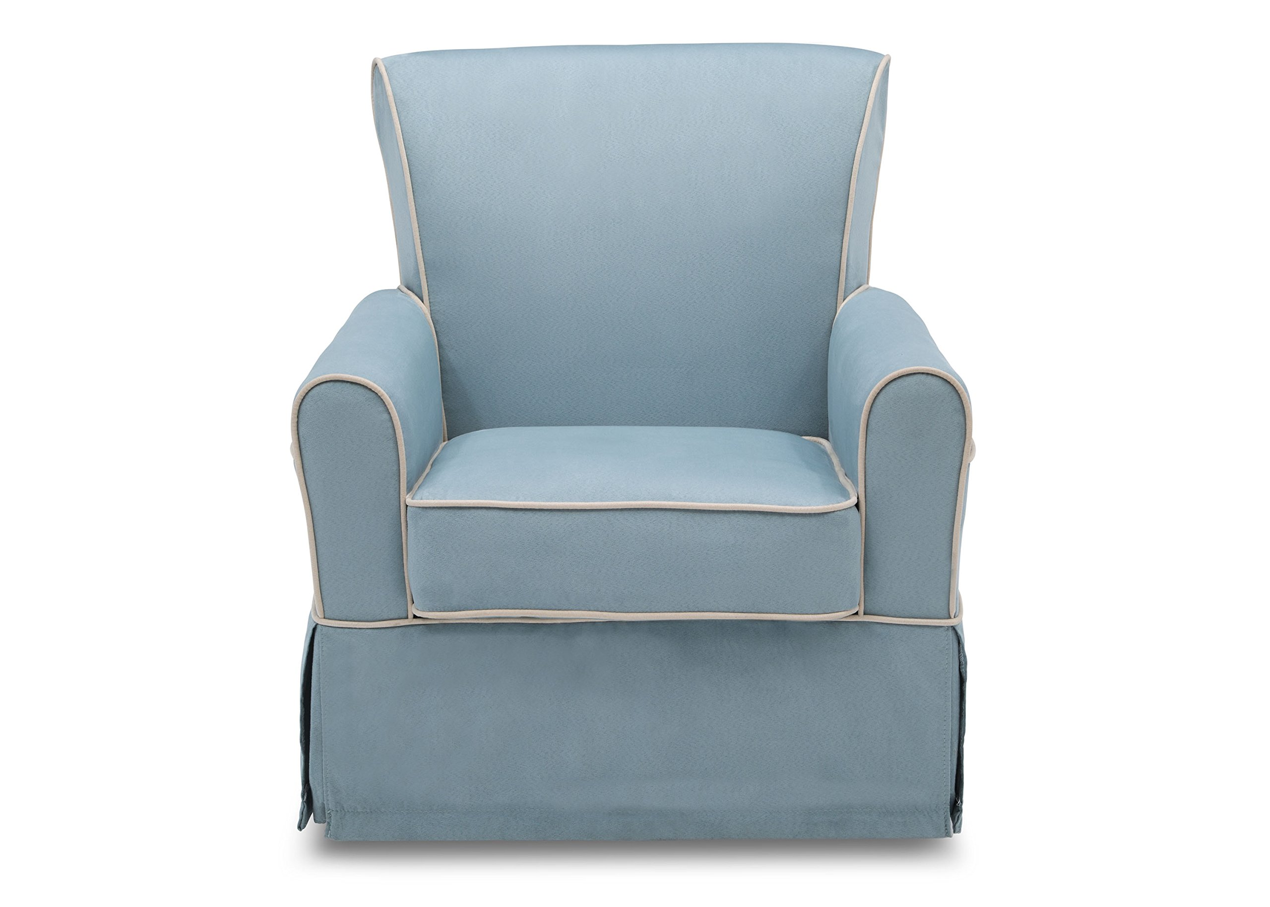 Delta Furniture Benbridge Upholstered Glider Swivel Rocker Chair, Frozen Blue with Cream Welt by Delta Furniture (Image #4)