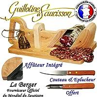 Guillotine à Saucisson Traditionnelle Le Berger AFFUTEUR INTEGRE & SECURTITE PROTEGE DOIGT OFFERT & Couteau et Eplucheur inxo Offert Garantie 3 ans