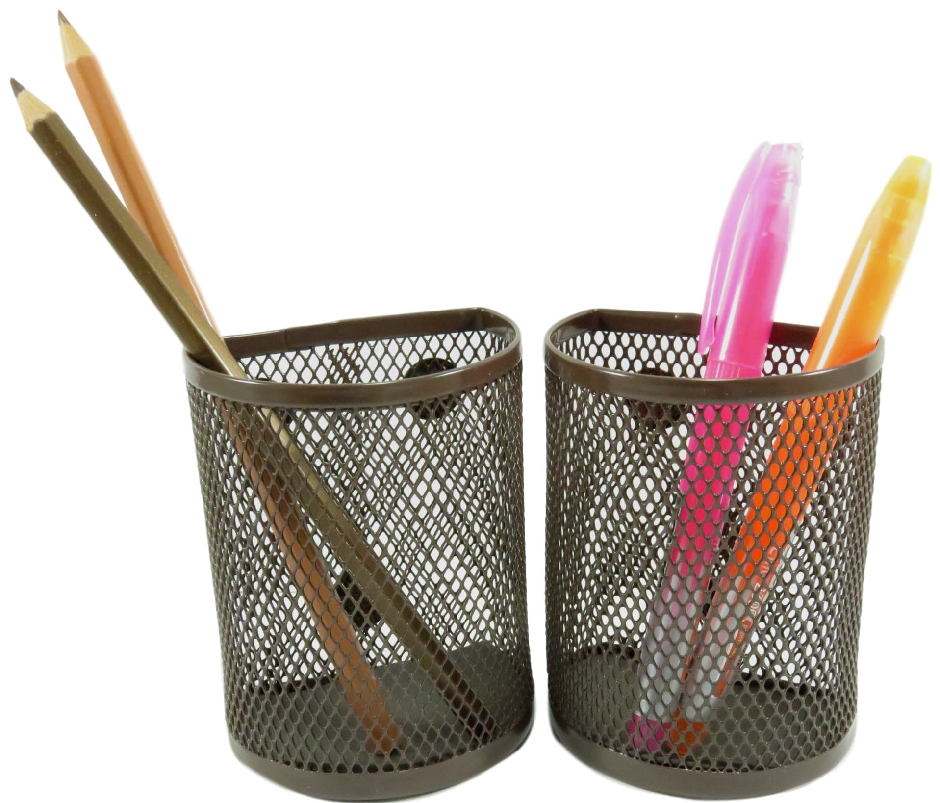 Half Moon Mesh Wire Pen Pencil Holder Magnetic 3.7 x 2.8 Brown (Set of 2)