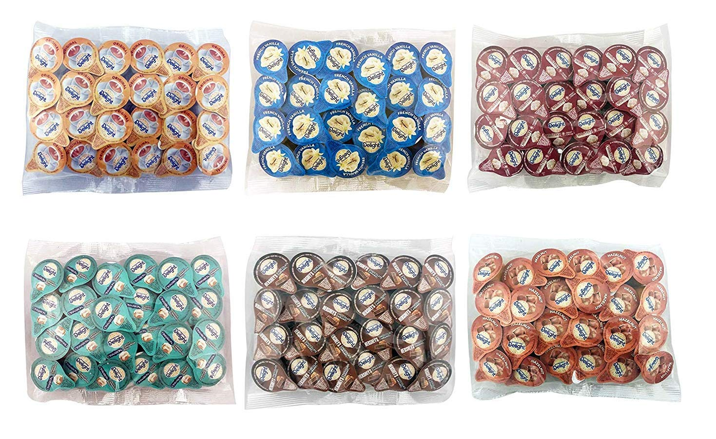 International Delight Liquid Creamer Singles - 6 Flavor Assortment (144 Pack)NEW Custom Leak Resistant Packaging by River Finn Organics