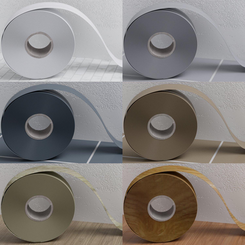 50x15mm Sockelleiste PVC Gummi Leisten WEICHSOCKELLEISTEN SCHOKOLADE