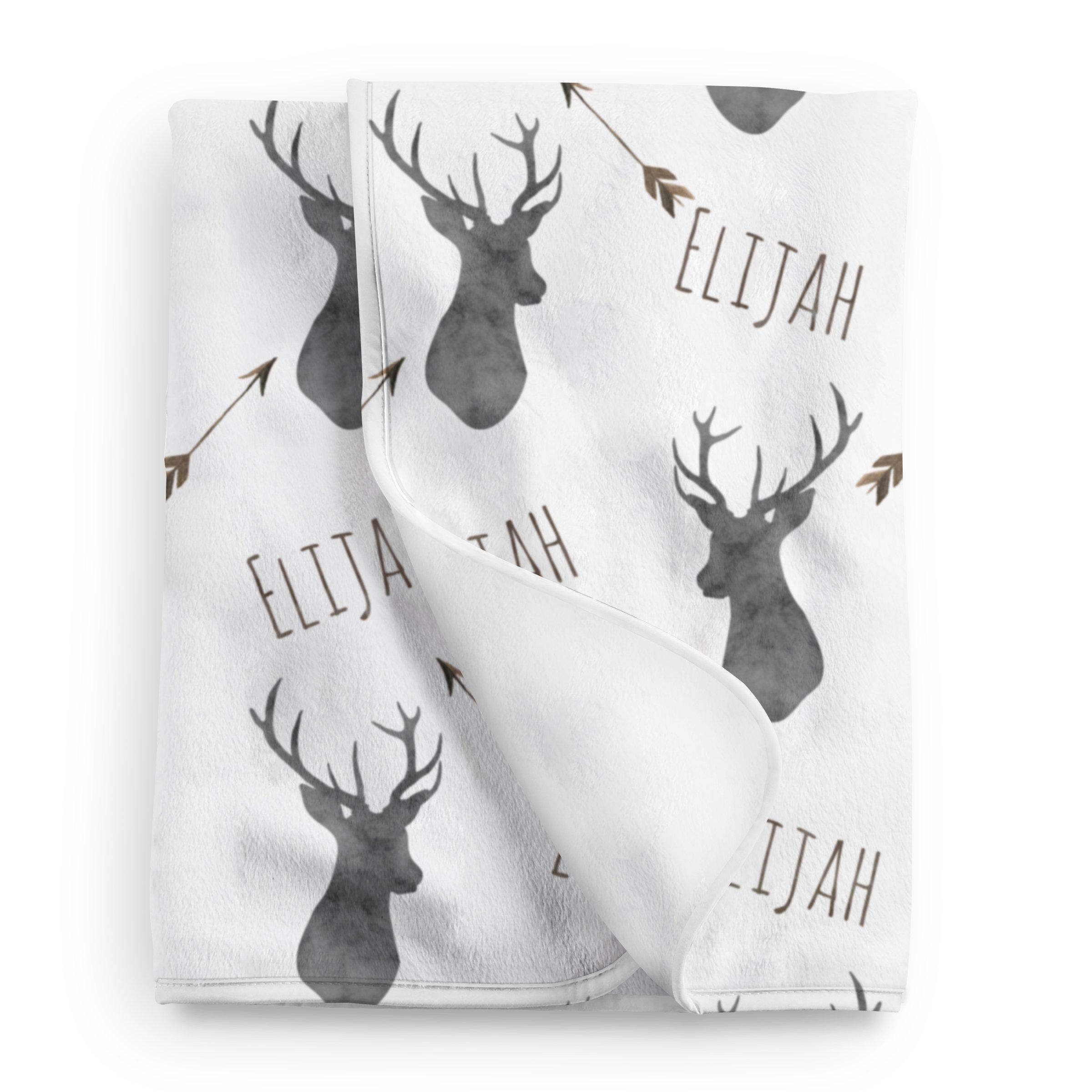 Personalized Deer Fleece Baby Boys Blanket, Charcoal and brown print