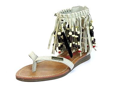Les Tropéziennes par M. Belarbi Les Tropeziennes Femmes Sandalettes Beige Gopak 07077 écru - Beige, 40 EU