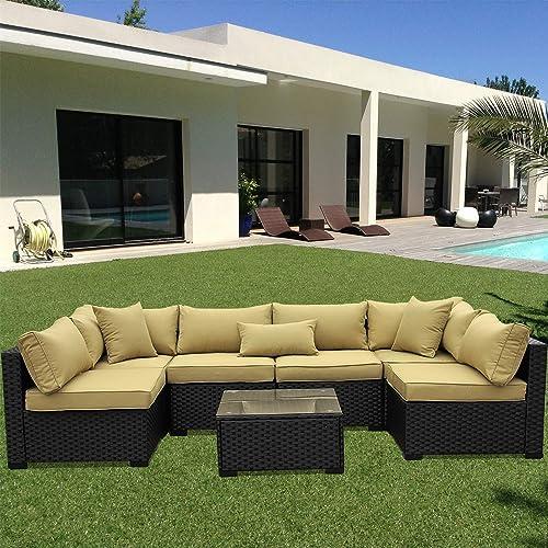 VALITA Outdoor PE Wicker Furniture Set 7 Pieces Patio Black Rattan Sectional Conversation Sofa Chair
