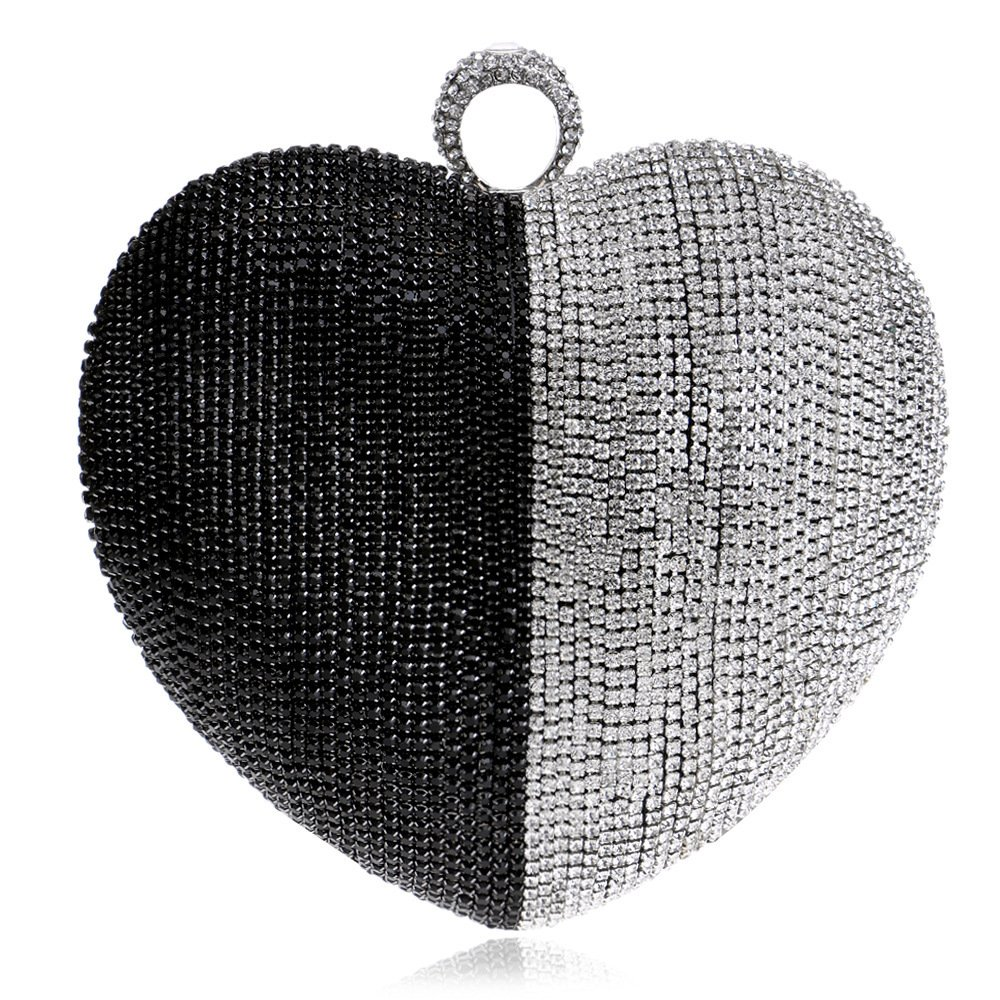 Women Clutch Bag Purse Evening Handbag Glitter Diamante Beaded Shoulder Bag Heart-shaped For Bridal Wedding Party Prom Clubs Ladies Gift,Black-16158cm
