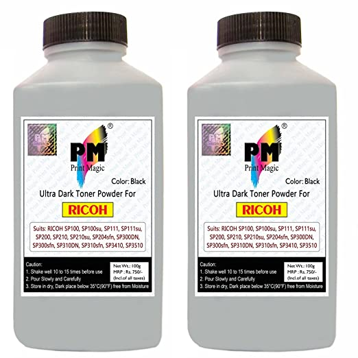 Print Magic Toner Powder for Ricoh Laser Printer Cartridges - 100gm - Set of 2 Toner Cartridges at amazon