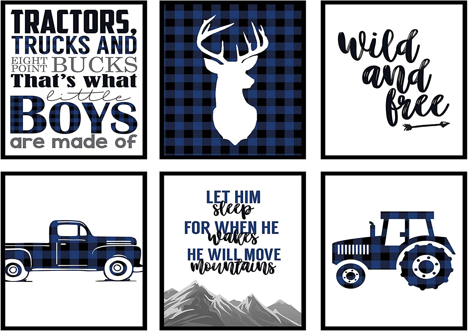 Silly Goose Gifts Navy Blue Buffalo Plaid Deer Tractor Truck Themed Children Wall Decor (Set of Six) Stag Hunting