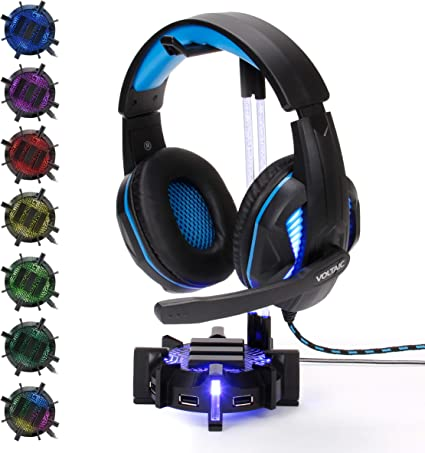 Customizable LED Lighting Flexible Acrylic Neck Universal Hanger with Weighted Base for Home Work Station Organization ENHANCE Gaming Headset Stand Headphone Holder with 4 Port USB Hub