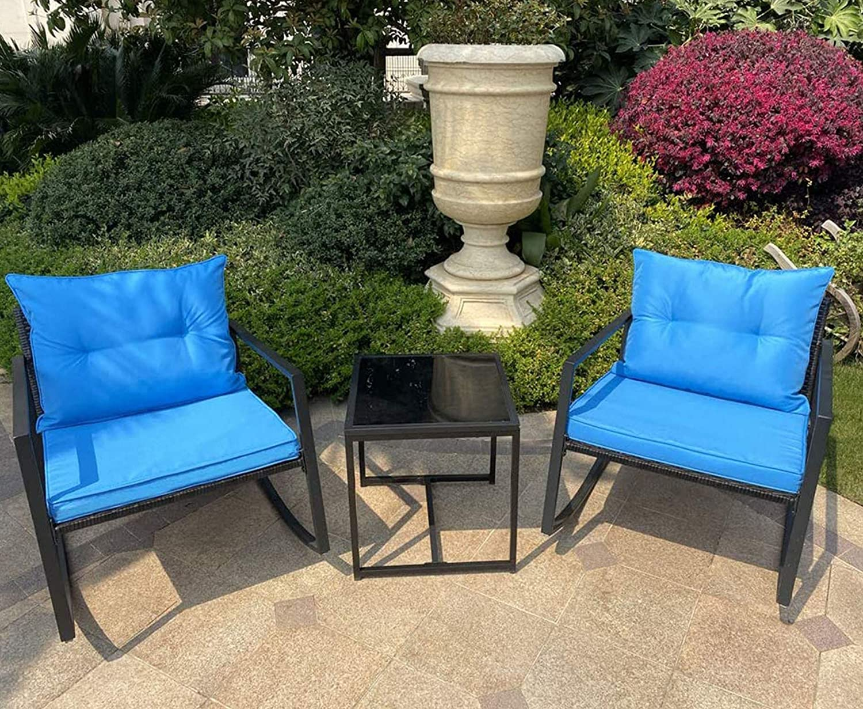 B BAIJIAWEI 3PCS Set Rattan Wicker Rocking Chair - Bistro Furniture Set with Coffee Table, Garden Patio Yard Porch Balcony Furniture All- Weather Wicker Rocker Chair with Cushions