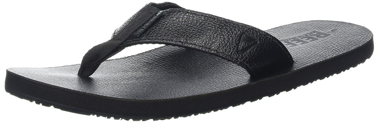 TALLA 40 EU. Reef Leather Smoothy Black, Sandalias para Hombre