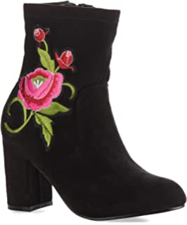 Women's Tailored Floral Embroidered Chunky Heel Ankle Booties