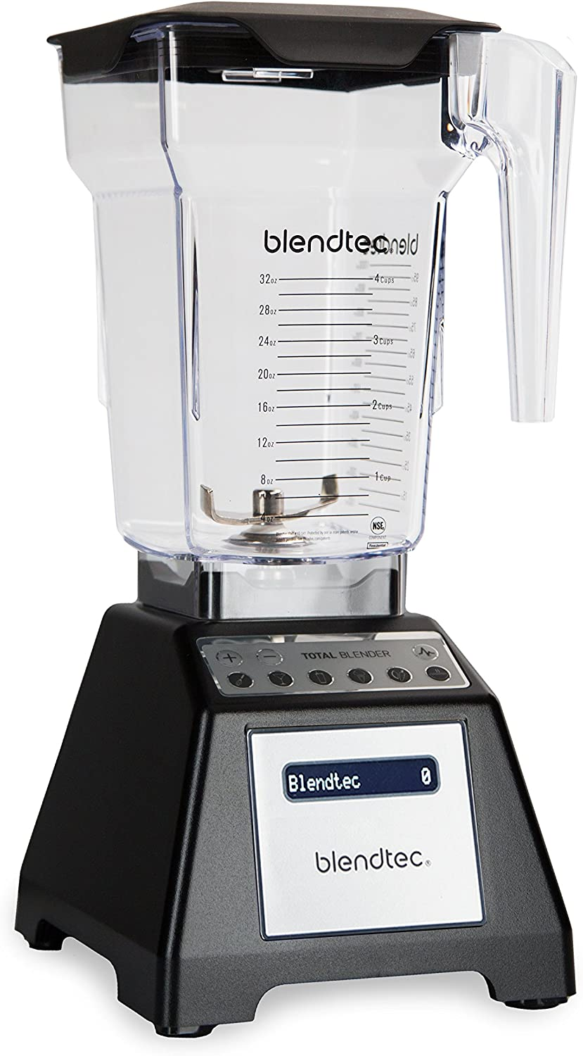 Blendtec Total Classic Original Blender with FourSide Jar 75oz volume 32 oz Wet Dry Fillable , Professional-Grade Power, 6 Pre-programmed Cycles, 10-speeds, Black