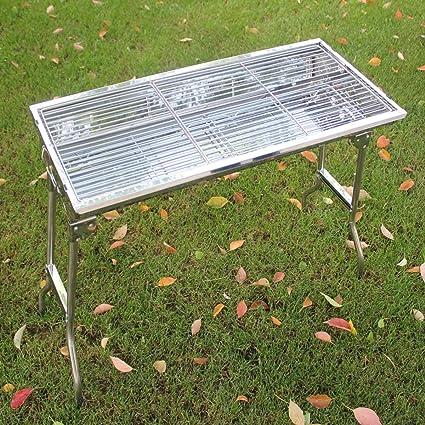 Hogar al aire libre de acero inoxidable barbacoa estufa plegable campo de barbacoa portátil horno estante