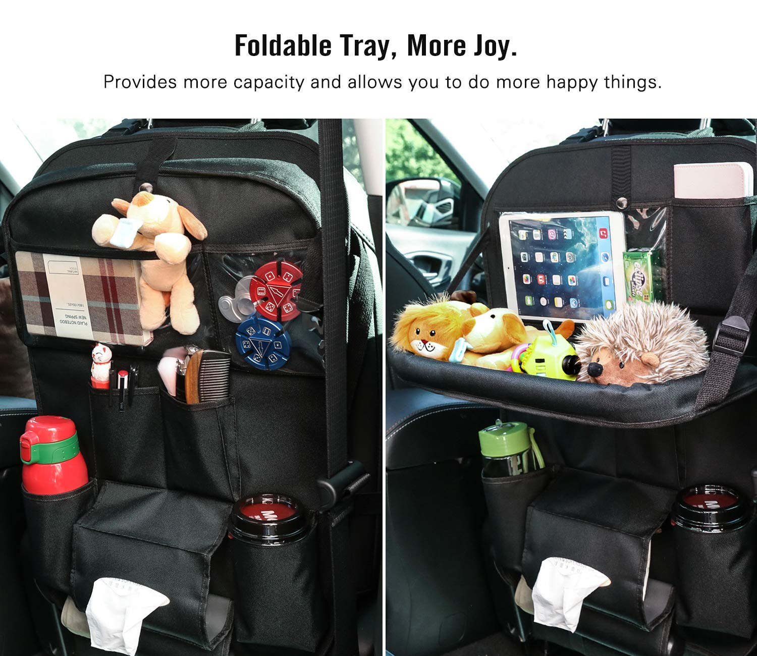 Ximito Car Backseat Organizer 1 Piece Car Seat Protector with Leather Foldable Dining Table Tray Babies Toys PU Leather Car Back seat Organizer for Pets