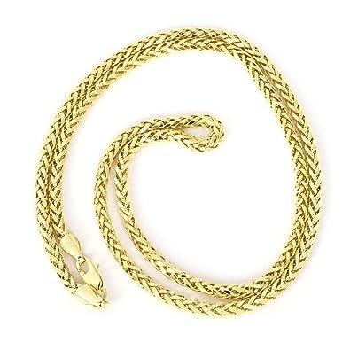 e898ffc9c155 Beauniq Men s 14k Yellow Gold Lightweight 2.7mm Diamond-Cut Spiga Round  Wheat Chain Necklace