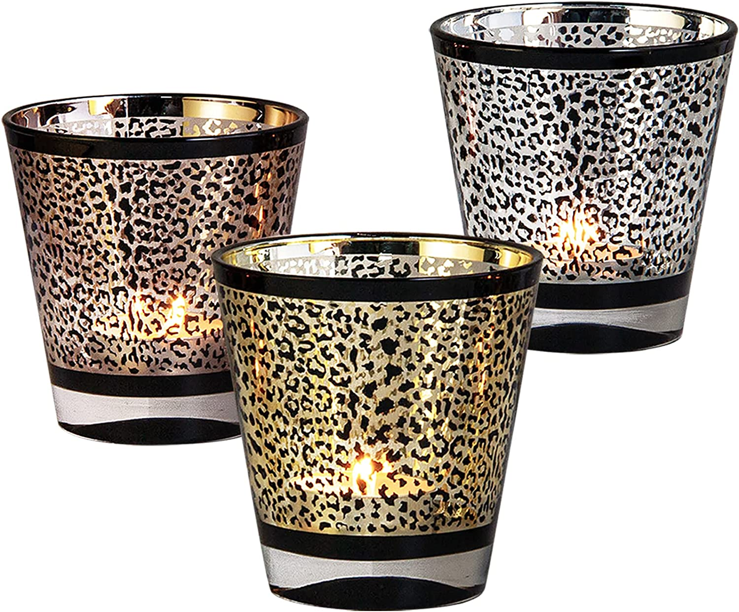 Set of 3 Animal- Leopard Print Votive Candle Holders, Decorative Tealight Holders 3.5 inches/9cm High, Mercury Glass in 3 Color Assorted,Great for Wild Home Decoration Party Tabletop Centerpiece Gift