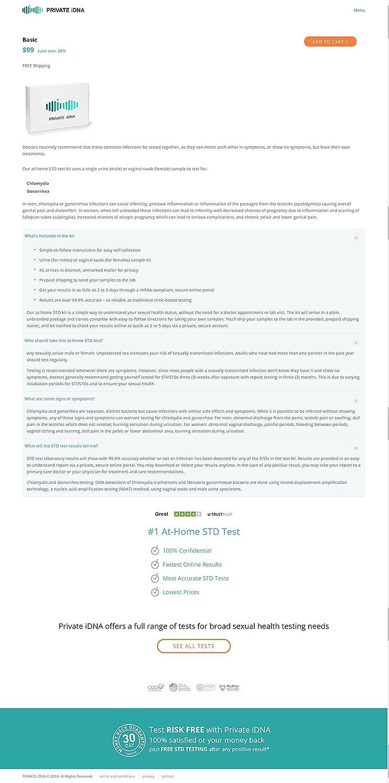 Amazon.com: Private iDNA At Home STD Kit - Basic STD Kit - Male ...