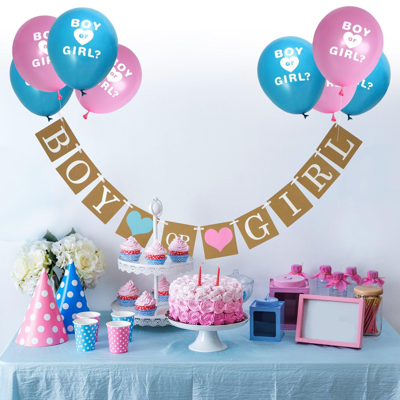 Pancarta De Boy Or Girl Y Globos De Revelación De Género Para Baby Shower Fiesta De Revelación De Género Anuncio De Embarazo