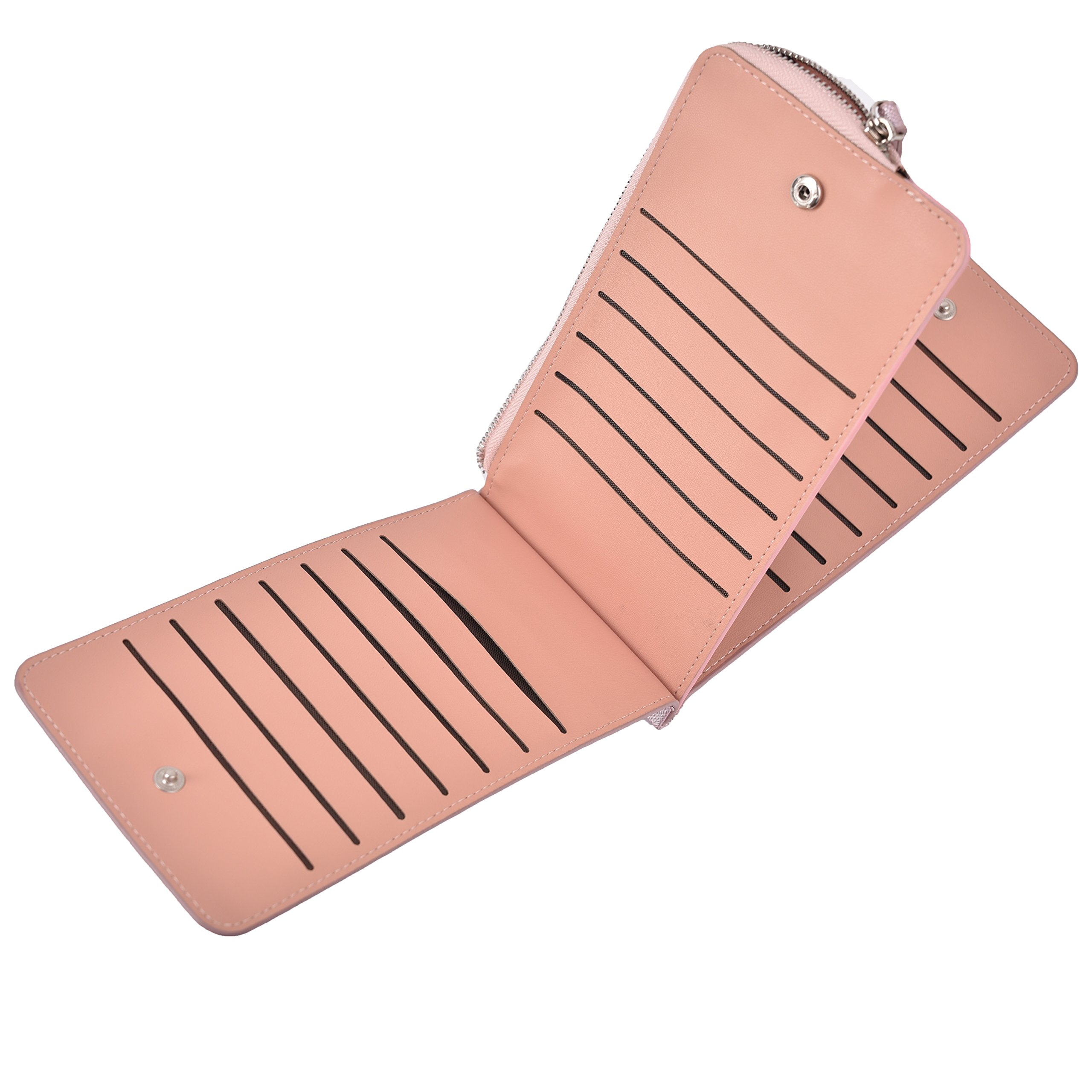 Women's Leather Card Case Holder Wallet Rfid Trifold Thin Zipper Wallet Purse (Light Purple) by Yuhan Pretty (Image #6)