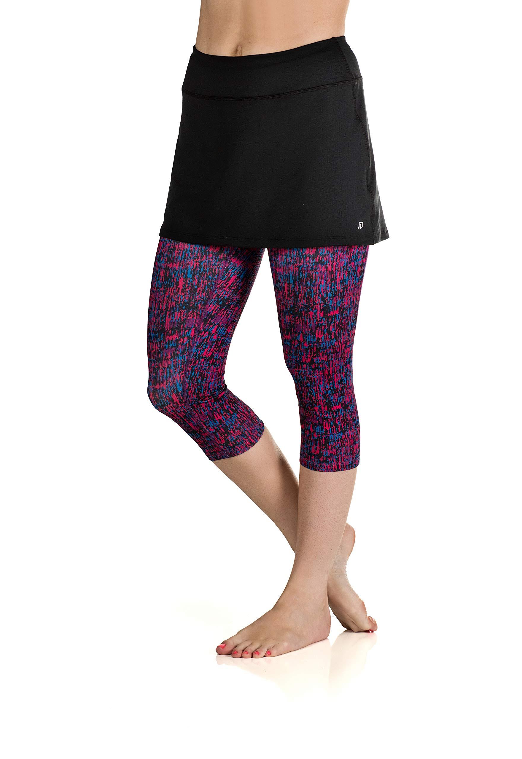 Skirt Sports Women's Lotta Breeze Capri Skirt, Black/Chaos Print, X-Small by Skirt Sports