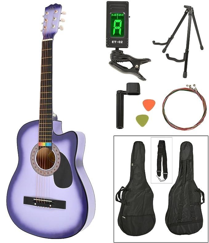 ts-ideen Western - Guitarra acústica, tamaño regular (4/4) con set de accesorios (bolso, cuerdas, afinador, soporte etc.), color lila sunburst: Amazon.es: ...