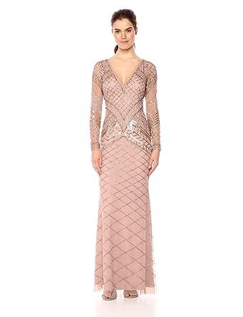 81818fdb99f Adrianna Papell Women s Fully Beaded Long Dress at Amazon Women s ...