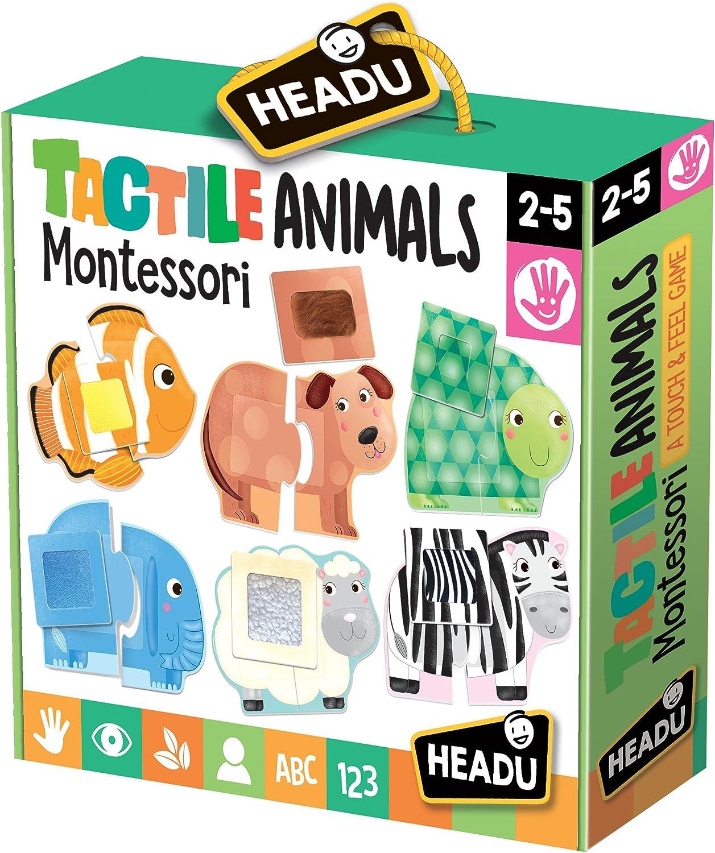Headu- Táctil Animals Montessori Puzzle 1-4 años, Multicolor, IT20188