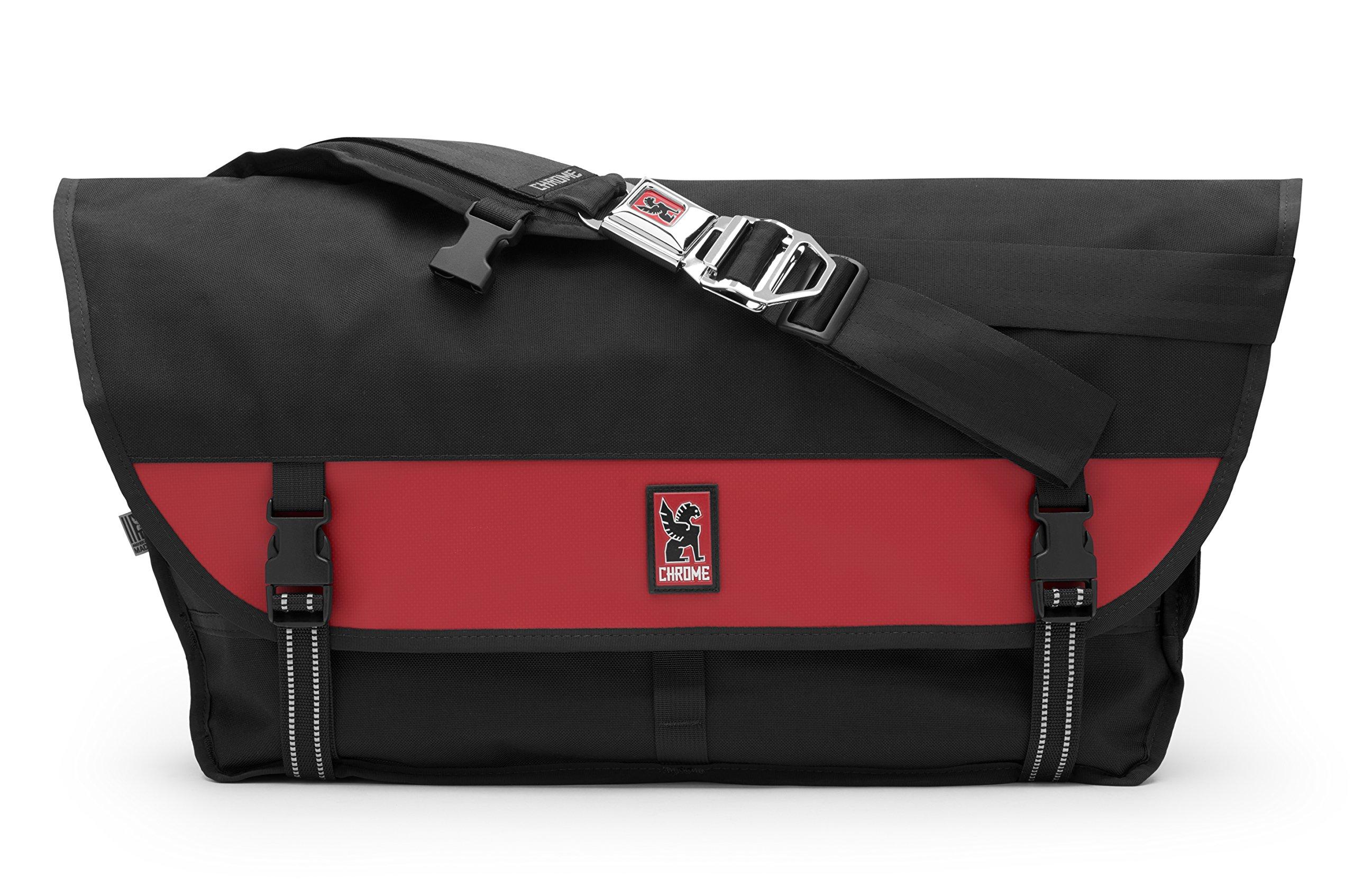 Chrome BG-003-BKRD Black/Red One Size Metropolis Messenger Bag Chrome Buckle