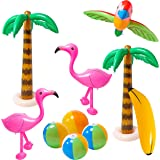 R HORSE 10 Pcs Inflatable Palm Tree Flamingo Banana Beach Ball Parrot Beach Pool Toys for Tropical Hawaiian Luau Party…