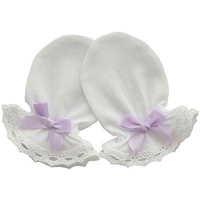 100% coton jersey nouveau-né bébé fait main anti-rayures Moufles en Coton Dentelle 1Paire couleur: blanc Blanc Light Purple Bow 0-3 mois