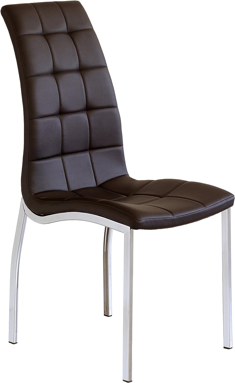 Tapizada Polipiel y Patas cromadas Blanco Juego de 4 sillas de Comedor Valma