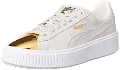 Puma Suede Platform Gold Womens Gold/Star White/Puma White H74714LN Shoes