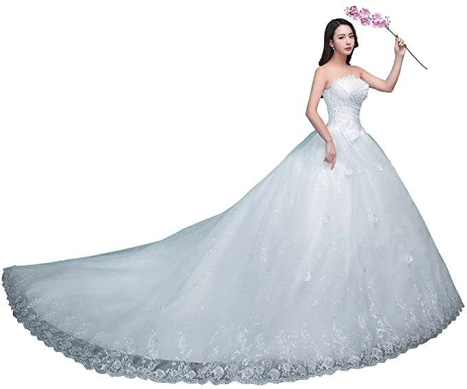 obqoo 2018 New Design Strapless Applique Beaded Pleats Ball Gown ...