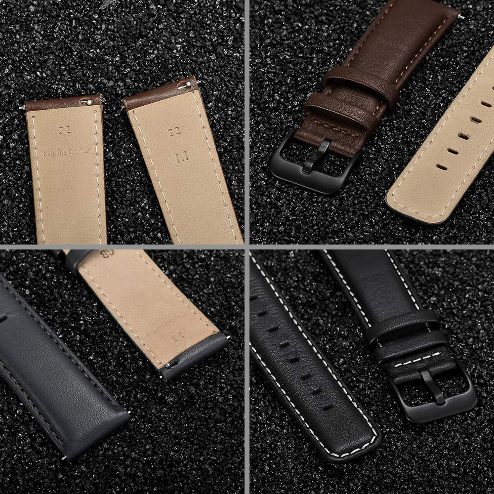 22mm Watch Band, LEUNGLIK Quick Release Leather Watch Strap Replacement Bands with Black/Brown/Gray Stainless Pins Clasp by LEUNGLIK (Image #7)